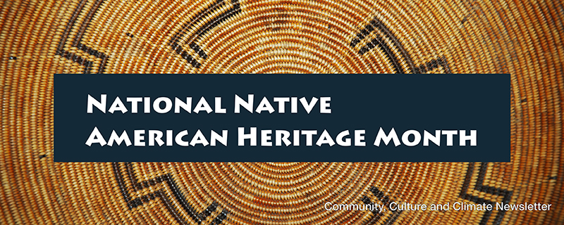 """Brown and dark blue woven basket in Native American pattern with words """"National Native American Heritage Month & Community, Culture & Climate Newsletter"""""""