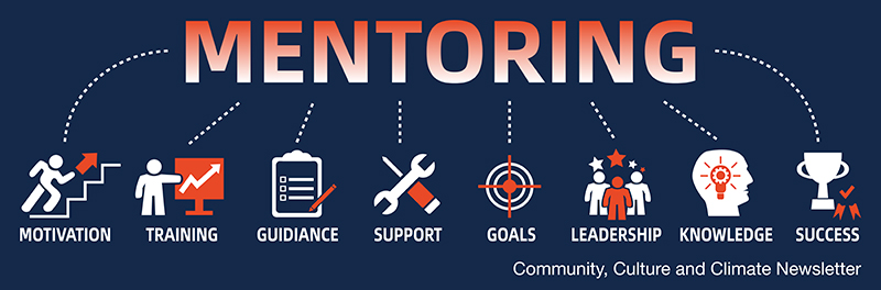 """word """"Mentoring"""" with symbols and words for the following: motivation, training, guidance, support, goals, leadership, knowledge & success. The words """"Community, Culture, & Climate Newsletter""""."""