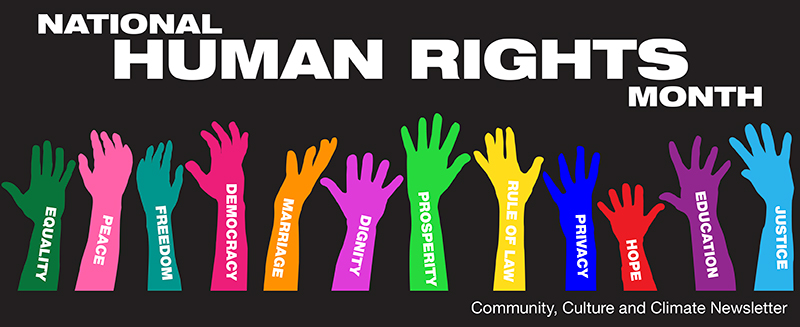 """Multiple hands in different colors with different human rights written on them. The words """"National Human Rights Month & Community, Culture & Climate Newsletter""""."""