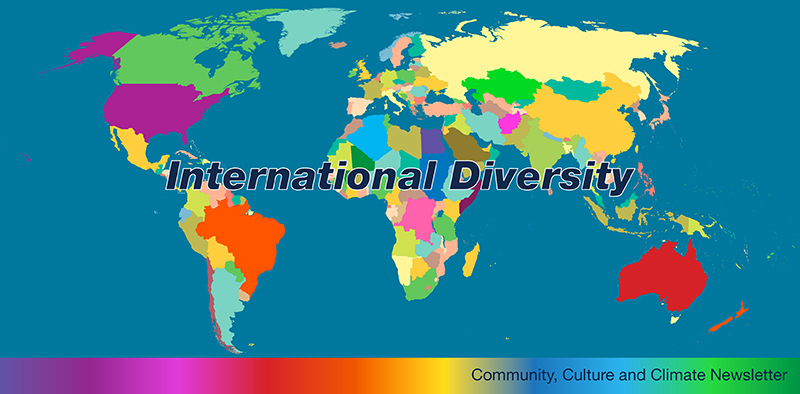 "World map in multiple colors and words ""International Diversity"" and ""Community, Culture & Climate Newsletter"""