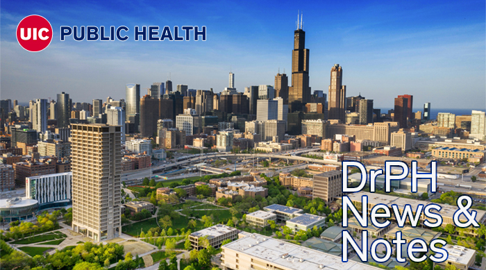 """An aerial view of the Chicago skyline, with UIC's campus in the foreground.  The magazine title, """"Healthviews,"""" is overlaid on the image.  The UIC Public Health logo is also overlaid on the image."""